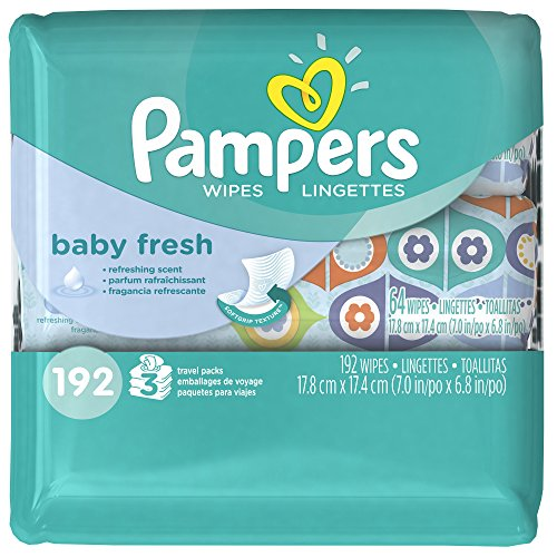 Pampers Baby Fresh Wipes 3x Travel Pack 192 Count - 1