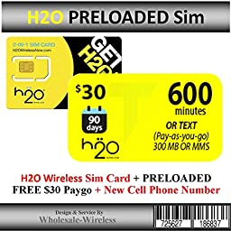 H2o Wireless Sim Card + Preloaded $30 Paygo