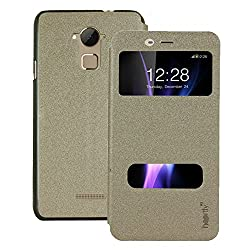 Heartly GoldSand Sparkle Luxury PU Leather Window Flip Stand Back Case Cover For Coolpad Note 3 / Coolpad Note 3 Plus - Hot Gold