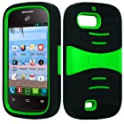 ZTE Fury N850 Director N850L Valet Z665C Kickstand Hybrid Case Hard Gel Cover with Stand - Black/ Green