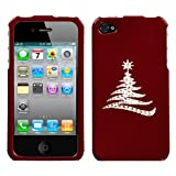 Red and White Crystal Rhinestone Bling Bling Simple Christmas Tree for At&t Sprint Verizon Iphone 4 Iphone 4s 16gb 32gb 64gb Snap on Hard Plastic Durable Case Cover