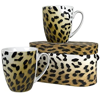 Leopard Print Boxed Mugs Set