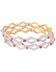 Bharat Sales Gold Plated Red Alloy Bangles For Women