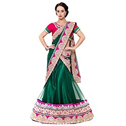 Suchi Fashion Green Net Embroidered Circular Lehenga Choli