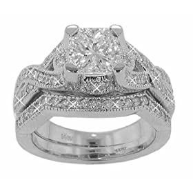 2.25 ct. TW Princess Diamond Engagement Ring with Wedding Band in 14k Size 7: M. A. Jewelry Designs