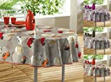 Orange & Grey Oilcloth PVC Wipe Clean Tablecloth 140cm x 240cm 55