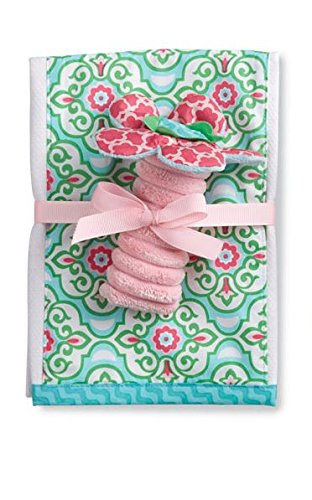 Mud Pie Burp Cloth with Rattle, Flower