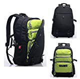 Top Power 8006 Transformable Convertible Carry-on Travel Backpack with Laptop Compartment-Black/Green