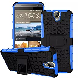For HTC One E9 Plus, Urvoix(TM) Hybrid Heavy Duty Dual Layer Shock Proof Rugged Shell Grenade Grip Tyre Textured Kickstand Case Cover Blue