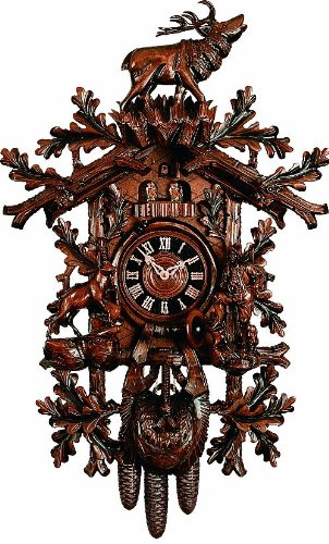 River City Clocks MD879-33 Eight Day Musical Cuckoo Clock with Dancers, Woodsman, Ram, Elk, And Oak Leaves