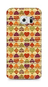 Amez designer printed 3d premium high quality back case cover for Samsung Galaxy S6 Edge (Background heart many colorful texture)