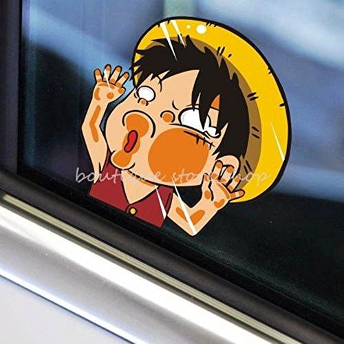 ワンピース ルフィ One Piece Luffy 顔潰れ 車 窓 ウィンドウ デカール カー ステッカー (並行輸入品) (Sサイズ 11×11cm)
