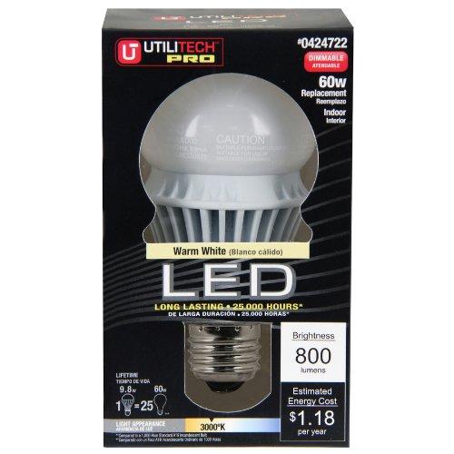 Utilitech 13-Watt (60 W) A19 Base Type Base Warm White (3000 Kelvins K) Indoor Led Bulb