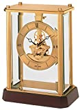 Seiko Quartz/Battery Skeleton Mantle/Mantel Clock with Wooden Base QHG033G