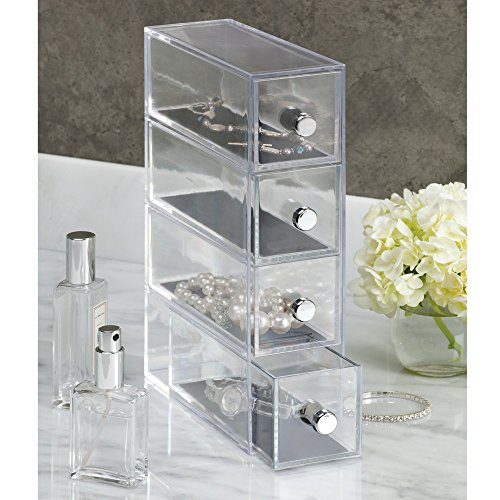 interdesign clarity vanity jewelry organizer 4 drawers