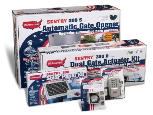 Images for USAutomtic 020345 Medium 300 Solar Charged Automatic Gate Opener Double Gate Deluxe Kit