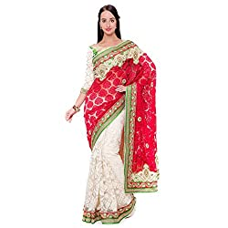 Suchi Fashion Cream Faux Georgette And Net Embroidered Traditional Festival Sarees