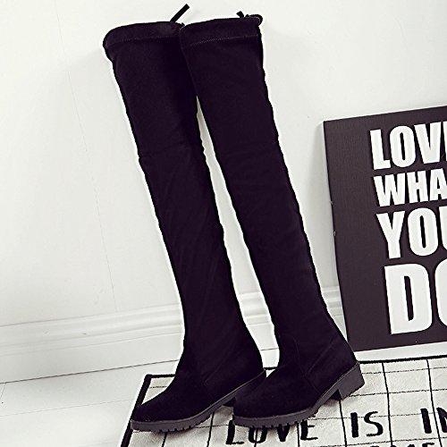 Spritech (TM) ragazze Fashion donna oltre il ginocchio, tacco Lo, Scarpe eleganti autoreggenti al ginocchio, nero, US:6.5
