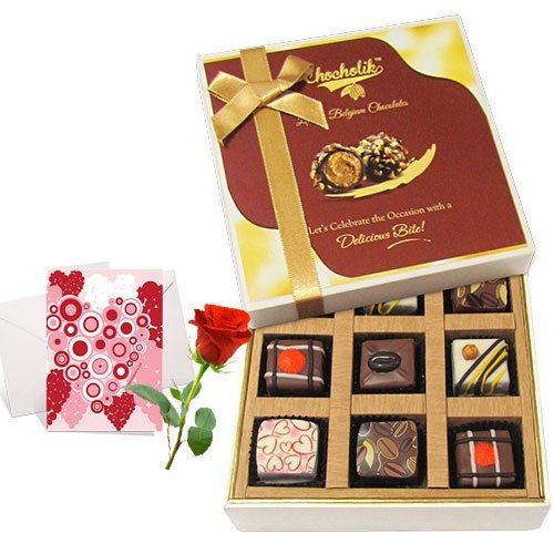 Valentine Chocholik's Luxury Chocolates - Everlasting Chocolate Collection With Love Card And Rose