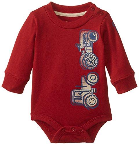 Carhartt Baby-Boys Infant Vertical Tractor Long Sleeve Bodysuit, Dark Crimson, 18 Months