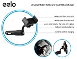 Eelo Dual USB Charger with Universal Mobile Holder / Mount - Heavy Duty 2A Dual Port USB Car Charger for Iphone 5s, Iphone 5, Iphone 4s, Samsung Galaxy S4, S3, Galaxy Note 3, Galaxy note 2, ACE / HTC One X One S One V Desire HD Wildfire Sensation / Sony,