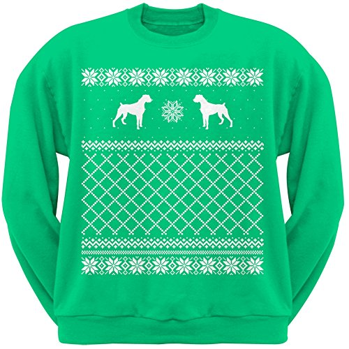 Boxer Green Adult Ugly Christmas Sweater Crew Neck Sweatshirt - Large