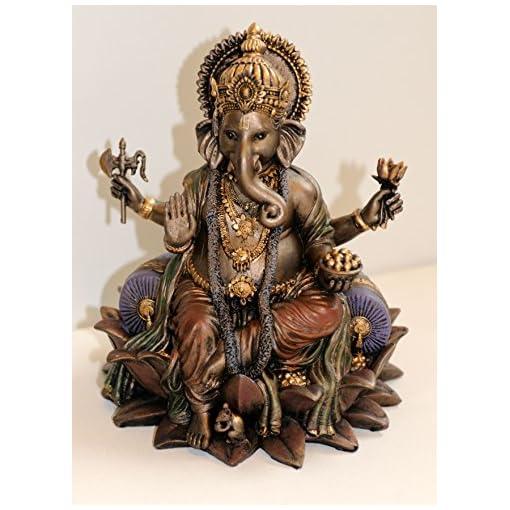 NEU-Ganesha-auf-Lotosthron-eindrucksvolle-Figur-im-Antiklook-bronziert