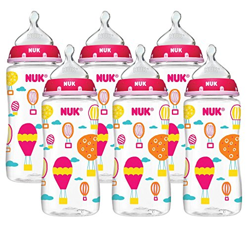 NUK Hot Air Balloons Orthodontic Medium Flow Bottle 6-Pack 10oz, Newborn+ - 1