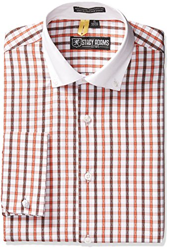 Stacy Adams Men's Union City Dress Shirt, White/Brown, 18