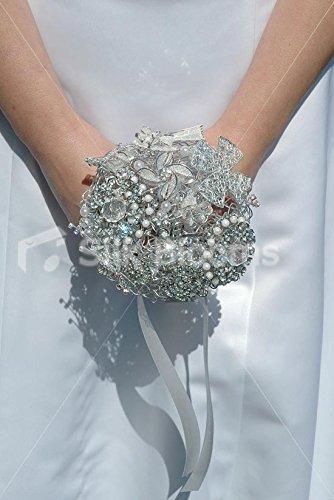 Ultra moderno miste in argento con cristalli e piccole Bridal Bouquet