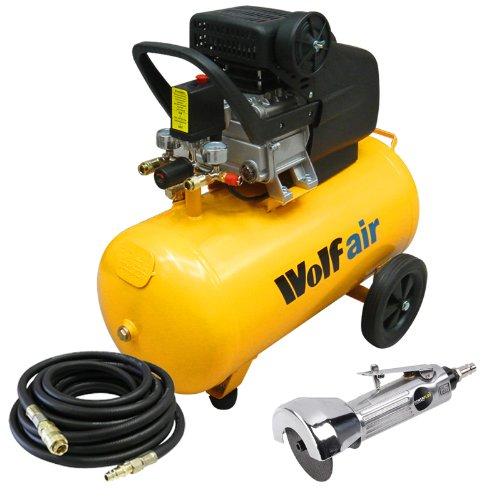 Get Cheap Wolf Sioux 50L 2 5HP 9 6CFM 230v Air Compressor 10m Rubber