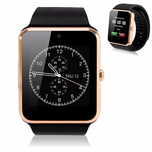 OPTA SW-008(Golden/Black) Bluetooth Smart Watch Phone With Camera and Sim Card Support With Apps like Facebook and WhatsApp Touch Screen Multilanguage Android/IOS Mobile Phone Wrist Watch Phone with activity trackers and fitness band features compatible with Samsung IPhone HTC Moto Intex Vivo Mi One Plus and many others! Launch Offer!!