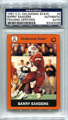 Barry Sanders 1991 OSU Oklahoma State #2 AUTO PSADNA Detroit Lions Football Card (Barry Sanders Auto compare prices)
