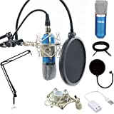 Professional Condenser Microphones +Power Supply Cables Stand Suit for Network K Song Computer Recording+3.5mm Cable+Ball-type Foam Cap +Metal Shock Mount +Table Mounting Clamp+Pop Filter