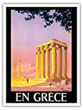 En Grèce (in Greece) - Ancient Temple of Zeus - Athens, Greece - Vintage World Travel Poster by Pierre Commarmond c.1930s - Master Art Print - 9in x 12in