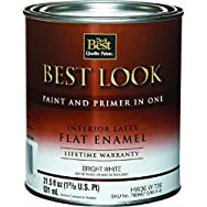 Best Look Interior Flat Paint And Primer In One Wall Enamel-INT FLT BRIGHT WHT P