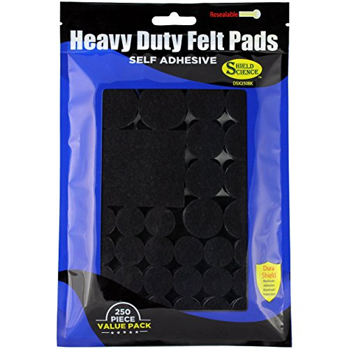 Dura Shield Heavy Duty Self-Adhesive Felt Furniture Pads, Black - Large 250-Piece Variety Pack for Best Floor Protection Value - Risk Free Satisfaction Guarantee!