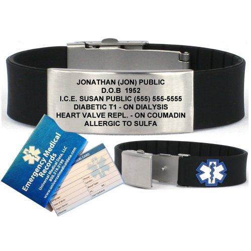 Noir Sport silicone bracelet d'alerte médicale