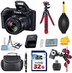 Canon PowerShot SX410 IS Digital Camera Bundle with Commander 32GB High Speed Memory Card + High Speed Memory Card Reader + Deluxe Camera Case + Flexible Spider Tripod + Commander Starter Kit