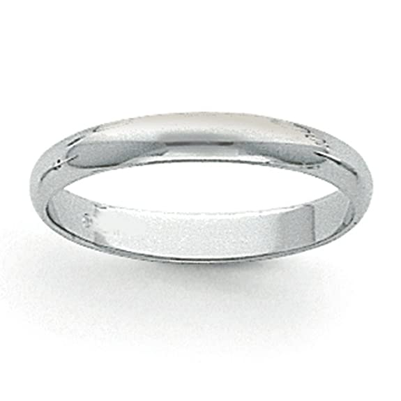Platinum 3mm Half-Round Wedding Band Ring - Size Q 1/2