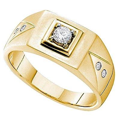 0.25 Carat (ctw) 14K Yellow Gold Round White Diamond Cluster Men's Wedding Ring 1/4 CT