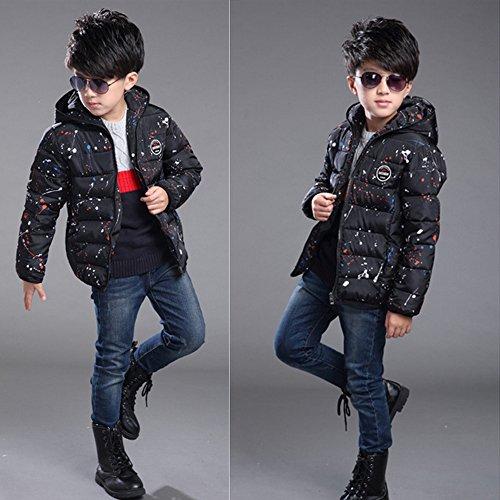 General Kinder Winter Mode koreanischen junge Kinder plantschen Kinder aus Baumwolle gesteppte Jacke Mantel schwarz (160)