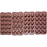 Bekith Silicone Gel Non-stick Chocolate, Jelly and Candy Mold, Cake Baking Mold (Set of 4)