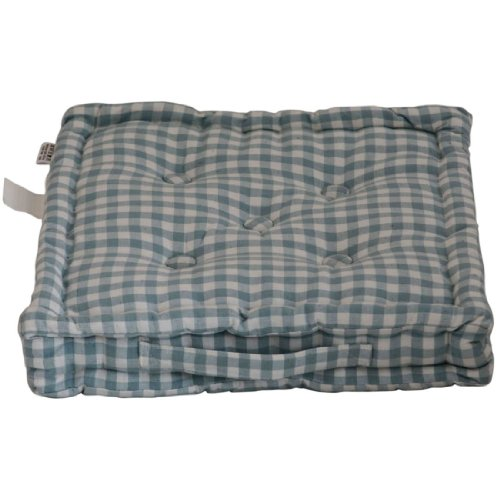Homescapes Blue & White GINGHAM Check Floor Cushion - 100% Cotton - 40 x 40 x 10 cm Square - Indoor - Garden - Dining chair booster Seat Cushion Pad