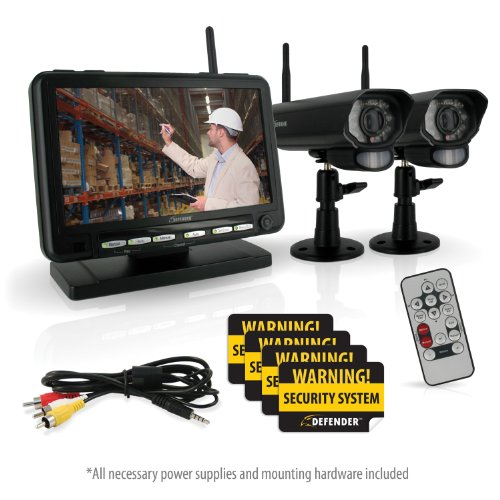 Defender digital wireless dvr security system with 7 inch for Look security systems