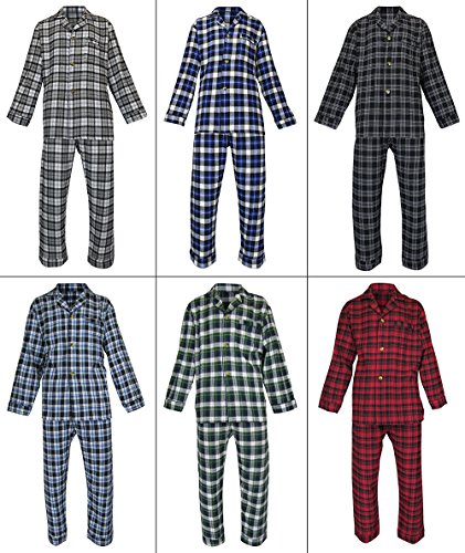 RK Classical Sleepwear Men's 100% Cotton Flannel Pajama Set,