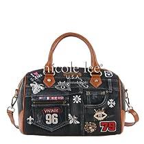 Nicole Lee Annika Denim Boston Bag,Black,One Size