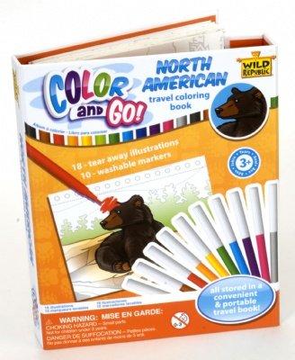Wild Republic North America Colour & Go Childrens Animal Colouring In Book - 1