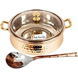 Prisha India Craft ® High Quality Handmade Steel Copper Casserole With Lid And Serving Spoon - Set Of Copper Handi...