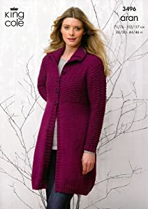 King Cole Ladies Coat & Hooded Cardigan Fashion Aran Knitting Pattern